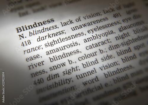 DICTIONARY PAGE SHOWING DEFINITION OF THE WORD BLINDNESS