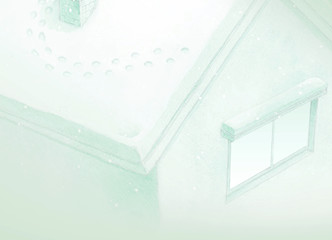Drawing of green fairy tale house background in winter