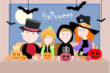 Family in a costume. Halloween. Vector illustration.