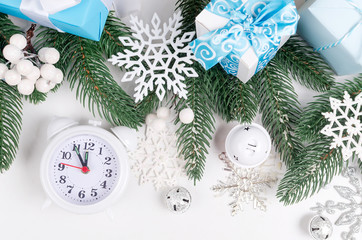christmas background with  fir branches, gifts, Christmas toys