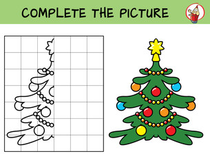 Complete the picture of a christmas tree. Copy the picture. Coloring book. Educational game for children. Cartoon vector illustration