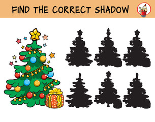 Christmas tree. Find the correct shadow. Educational matching game for children. Cartoon vector illustration