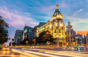 Foto op Plexiglas Madrid Madrid city skyline gran via street twilight , Spain