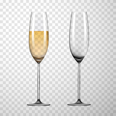Empty glass and glass of champagne isolated on transparent background.