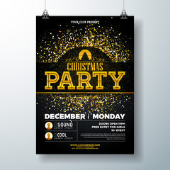 Merry Christmas Party Poster Design Template with Gold Glitter and Holiday Typography Elements on Black Background. Vector Holiday Celebration Plyer Illustration for Invitation or Banner.