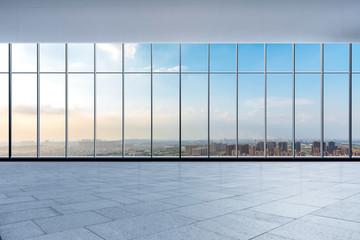 Fototapeta Panoramic skyline and buildings from glass window obraz