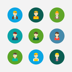 Occupation icons set. White worker and occupation icons with teacher, hotel receptionist and dentist. Set of doctor for web app logo UI design.