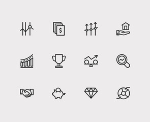 Capital icons set. Cooperation and capital icons with stock, market research and business progress. Set of deposit for web app logo UI design.
