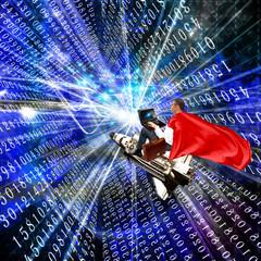 Fototapete - Cyber leadership.networking.internet technologies.businessman witch laptop on a rocket