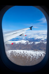 New Zealand's South Island, aerial view from commercial airplane