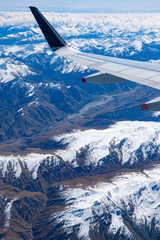 Mountains in the Southern Alps in New Zealand's South Island, aerial view from commercial airplane