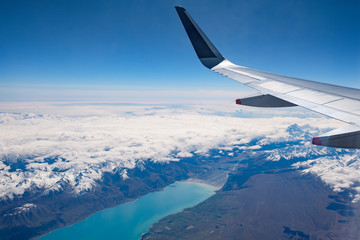 Lake Pukaki, Mount Cook in New Zealand's South Island, aerial view from commercial airplane