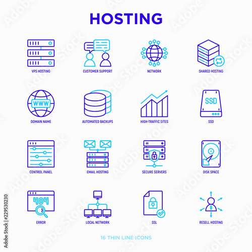 Hosting thin line icons set: VPS, customer support, domain