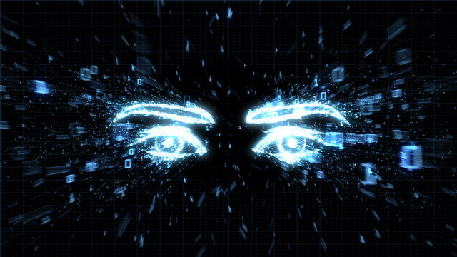 Glowing eyes in explosion of binary data illustrating spyware, privacy and hacking