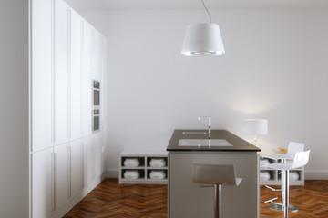 White kitchen interior with white furniture and wooden floor 3d render