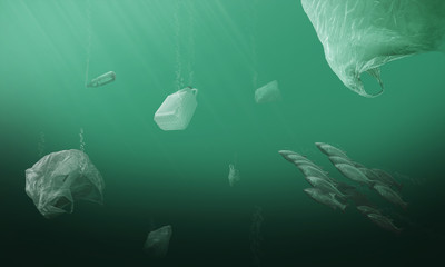sea pollution, polluting the seas and oceans with unhealthy plastic and microplastic