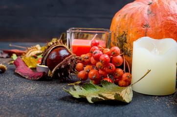 autumn leaves, pumpkin, chestnuts, candles on a dark background