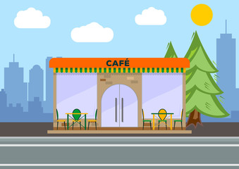 Street cafe. City landscape concept. Flat design. Vector illustration.
