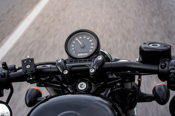 Classic motorcycle on the road