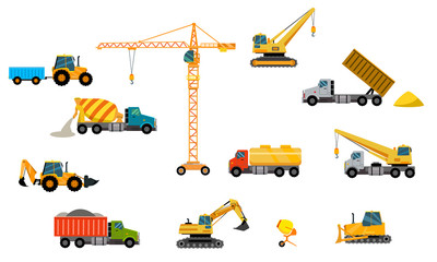 Twelve units of vector construction equipment