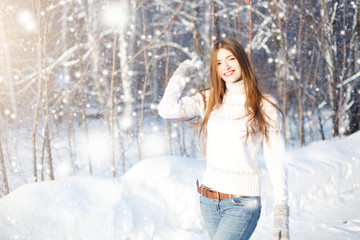 Pretty woman portrait outdoor in winter. Young woman at winter. Winter young woman portrait. Beautiful young woman laughing outdoors. Enjoying nature, wintertime
