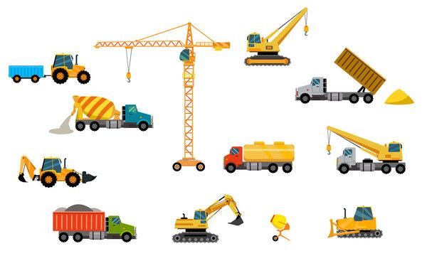 Twelve units of vector construction equipment