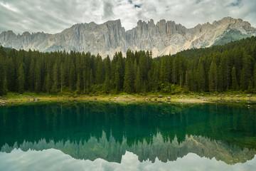 Wall Mural - Nice reflection of Dolomites in Lago di Carezza