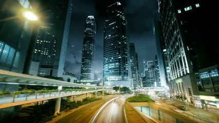 Fotomurales - hyper lapse, traffic in Hong Kong at sunset time,  ultra wide lens