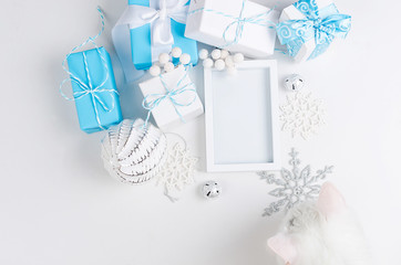 Christmas card with beautiful blue and white decorations