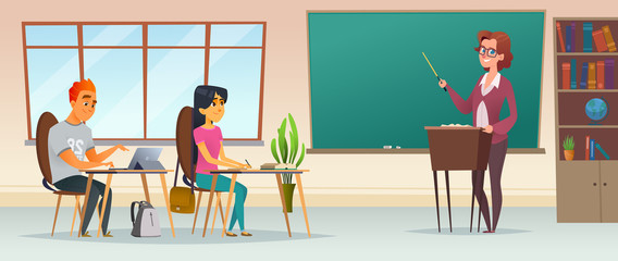 Educational process conceptual modern flat illustration. Pupils in the classroom. Young people listen to the teacher.