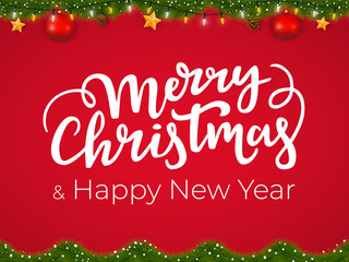 Merry Christmas and Happy New Year typographical postcard on red Xmas background with festive holiday garland.