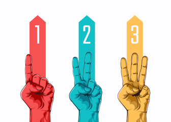 Set of counting one two three hand sign. Three steps or options concept. Vector illustration Fotomurales