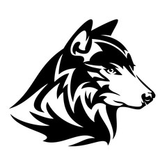 wild wolf profile head black and white vector design