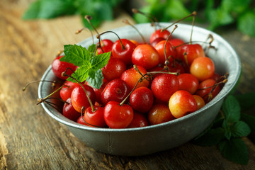 Fresh cherry in a rustic bowl