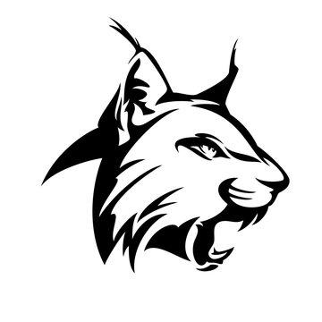 wild roaring lynx head - black and white vector design