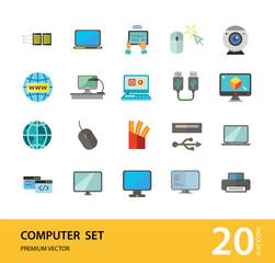 Computer Icon Set. Mouse Tablet Internet Connection Web Camera Open Laptop Desk Display Big Monitor Desktop Printer Laptop Screen Internet Of Things