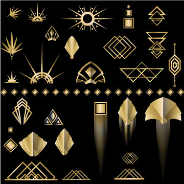 Art deco /Art Nuvo set of DIY elements golden black for print and web illustration , geometric luxury elements and beautiful creative pack.