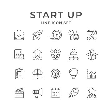 Set line icons of start up