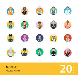 Men vector icon set. Teacher, businessman, scientist, engineer, pilot. Occupation concept. Can be used for topics like professional, vocation, uniform, character