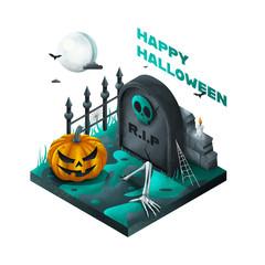 Halloween - Isometrie - Grün