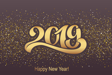 2019. Greeting inscription for postcard, poster happy new year. Beautiful handwritten letters. Vector illustration. Eps 10