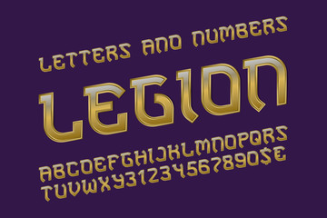 Legion golden alphabet with numbers and currency signs. Gaming stylized font.