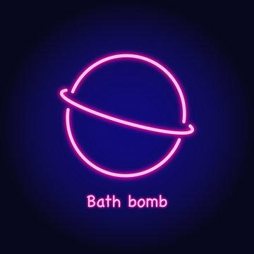 Graphic Neon lightning icon of bath bomb. Logo template.