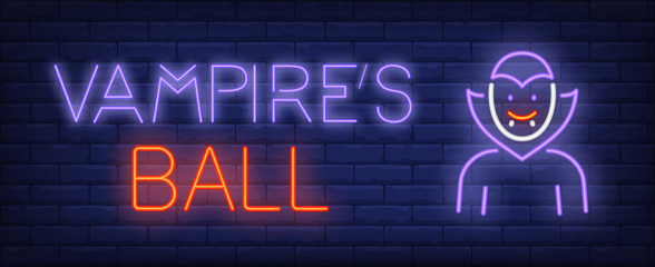 Vampire ball neon text with Dracula. Halloween party invitation advertisement design. Night bright neon sign, colorful billboard, light banner. Vector illustration in neon style.