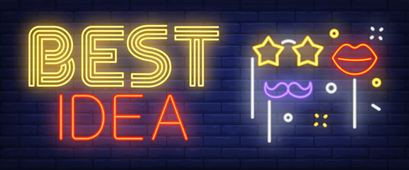 Best idea neon sign. Photo booth props on brick background. Party, photographing, masquerade. Night bright advertisement. Vector illustration in neon style for holiday, celebration, entertainment