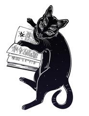Smart black boho four eyed demon magic cat reading the necronomicon book.