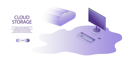 Online Computing Storage isometry Concept. Isometric Flat Design Concept Cloud Technology Data Transfer and Storage.