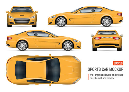 Car vector mockup on white background for vehicle branding, corporate identity. View from side, front, back, and top. All elements in the groups on separate layers for easy editing and recolor
