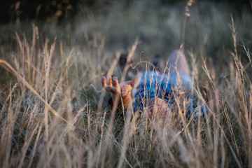 The girl lies in the grass at sunset. The end of the summer