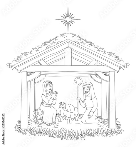 Christmas Stable Drawing.A Christmas Nativity Coloring Scene Cartoon With Baby Jesus